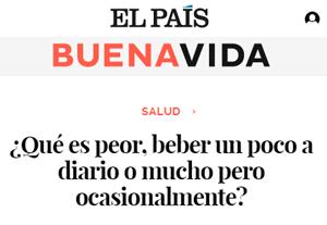 Me entrevistan para artículo en 'Buenavida' ('El País') sobre alcohol y salud cardiovascular